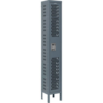 Infinity® Heavy Duty Ventilated Steel Locker, Single Tier, 1-Wide, 12x18x72, Unassembled, Gray