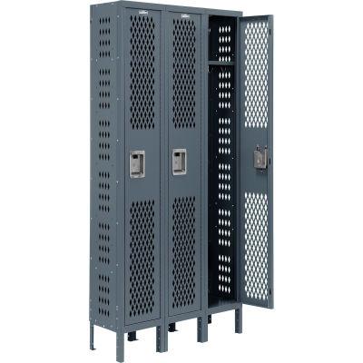 Infinity® Heavy Duty Ventilated Steel Locker, Single Tier, 3-Wide, 12x12x72, Unassembled, Gray