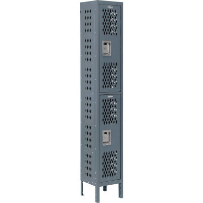 """Global Industrial™ Infinity® Double Tier 2 Dr Ventilated Locker, 12""""Wx15""""Dx36""""H, Assembled"""