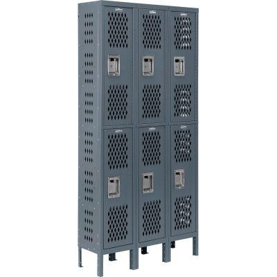 Infinity® Heavy Duty Ventilated Steel Locker, Double Tier, 3-Wide, 12x12x36, Unassembled, Gray