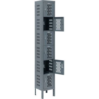 Infinity® Heavy Duty Ventilated Steel Locker, Six Tier, 1-Wide, 12x12x12, Unassembled, Gray