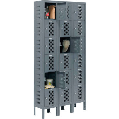 Infinity® Heavy Duty Ventilated Steel Locker, Six Tier, 3-Wide, 12x12x12, Unassembled, Gray