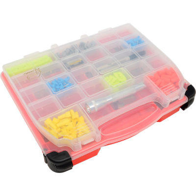 """Plano Stow N Go Singled-Sided LockJaw 15-54 Adjustable Compartment Box, 14.5""""Wx3-3/8""""Dx11-3/4""""H,Red"""