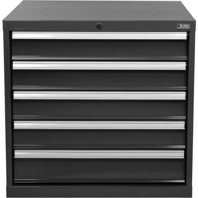"Global Industrial™ Modular Drawer Cabinet, 5 Drawers, w/Lock w/o Dividers 30""x27""x29-1/2"" Black"