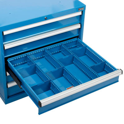 "Global Industrial™ Divider Kit for 6""H Drawer of Modular Drawer Cabinet 30""Wx27""D, Blue"
