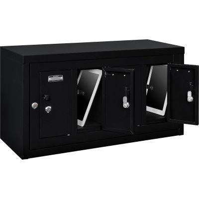 "Global Industrial™ 4 Door Device Locker W/Key Lock, 28-1/2""Wx11-1/4""Dx15-5/8""H, Black,Assembled"