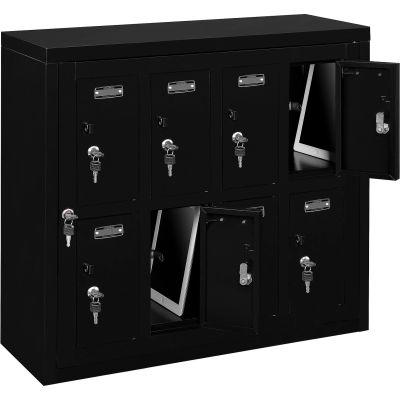 "Global Industrial™ 8 Door Charging Locker W/Key Lock, 28-1/2""Wx11-1/4""Dx26-3/4""H, Blk,Assembled"