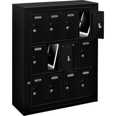 "Global Industrial™ 12 Door Device Locker W/Key Lock, 28-1/2""Wx11-1/4""Dx38""H, Black, Assembled"