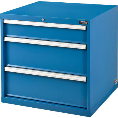 Global Industrial™ Modular Drawer Cabinet, 3 Drawers, w/Lock, w/o Dividers, 30x27x29-1/2, Blue
