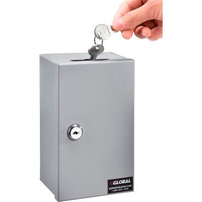 "Global Industrial™ Drop-In Key Control Box, 4-3/8""W x 3-1/4""D x 7-1/4""H, Keyed Alike, Gray"