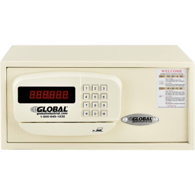 """Global Personal Hotel Safe Electronic Lock w/Card Slot 15""""W x 10""""D x 7""""H Keyed Differently, White"""