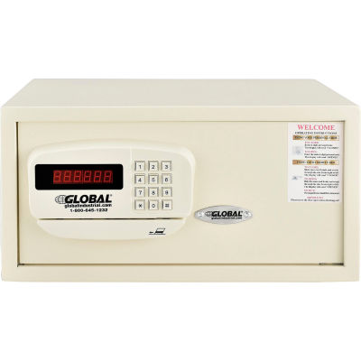 """Global Personal Hotel Safe  Electronic Lock w/Card Slot 18""""W x 15""""D x 9""""H Keyed Differently, White"""