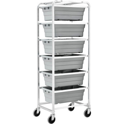 "Global Industrial™ NSF Aluminum Lug Cart 26""L x 19""W x 70""H, 6 Tote Capacity, Unassembled"