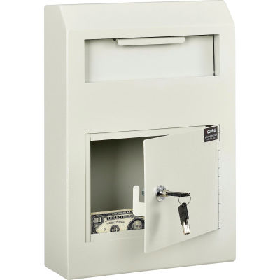 "Global Industrial™ Wall-Mount Depository Drop Box, 10""W x 4-1/4""D x 15""H, Beige"