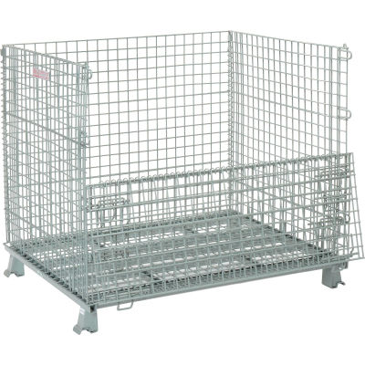 """Global Industrial™, Folding Wire Container 48""""L x 40""""W x 42-1/2""""H 3000 Lb. Capacity"""