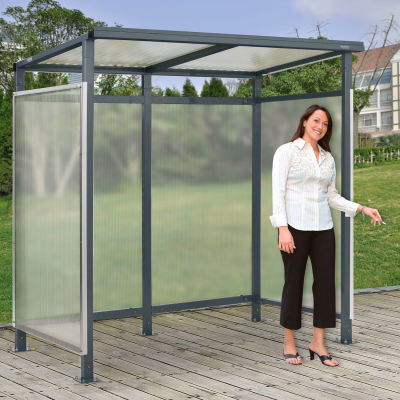 "Global Industrial™ Bus Smoking Shelter Flat Roof W/ Three Sided Open Front 6'5""Wx3'8""Dx7'H Gray"