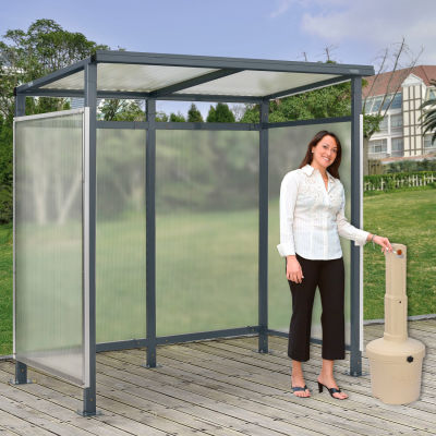 """Global Industrial™ Bus Smoking Shelter Flat Roof 3-Side Beige 5 Gal. Ashtray 6'5"""" x3'8"""" x7'"""