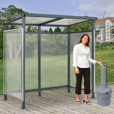 """Global Industrial™ Bus Smoking Shelter 3-Side W/GRY 5 Gallon Outdoor Ashtray 6'5""""Wx3'8""""Dx7'H"""