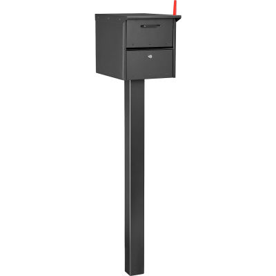 """Global Industrial™ Residential Mailbox Front/Rear Access 12-1/2x13-5/8x18-1/4 48"""" Ground Post"""