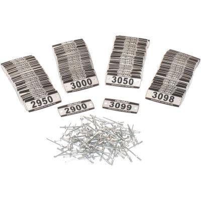 Global Industrial™ Locker Number Plate Kit, Numbered 2900-3099, 200/Pack