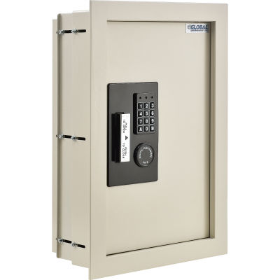 "Global Industrial™ Residential Safes Expandable Depth Wall Safe - 15""W x 3-1/4""-6""D x 22-1/8""H"