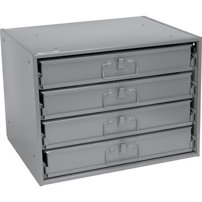 Durham Steel Compartment Box Rack 20 x 15-3/4 x 15 with 4 of 32-Compartment Boxes