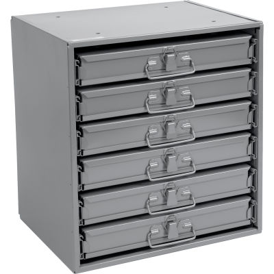 Durham Steel Compartment Box Rack 15-1/4 x 11-3/4 x 16-3/8 with 6 of 24-Compartment Boxes