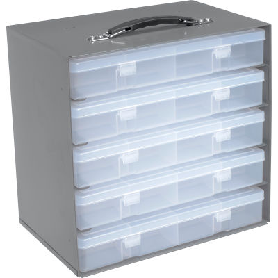 Durham Steel Compartment Box Rack 13-1/2 x 9-1/8 x 13-1/4 with 5 of 16-Compartment Plastic Boxes