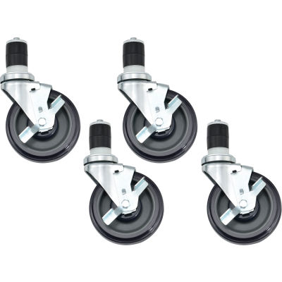 """Caster Kit For Stainless Steel Workbenches - Set of 4 of 5"""" Swivel Locking Casters"""