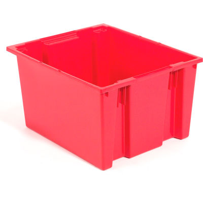 Global Industrial™ Stack and Nest Storage Container SNT225 No Lid 23-1/2 x 19-1/2 x 10, Red - Pkg Qty 3