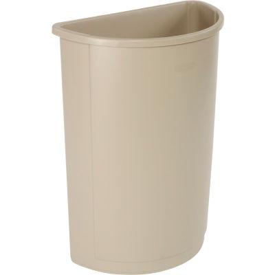 21 Gallon Half Round Rubbermaid Waste Receptacle - Beige