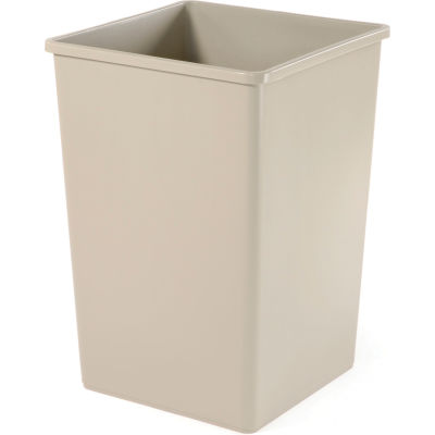 35 Gallon Square Rubbermaid Waste Receptacle - Beige