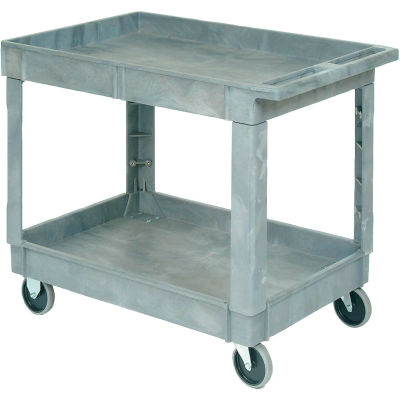"Global Industrial™ Plastic 2 Shelf Tray Service & Utility Cart 40x26, 5"" Rubber Casters"