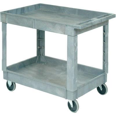 "Global Industrial™ Standard Tray Top Plastic Utility Cart, 2 Shelf, 40""Lx26""W, 5"" Casters, Gray"