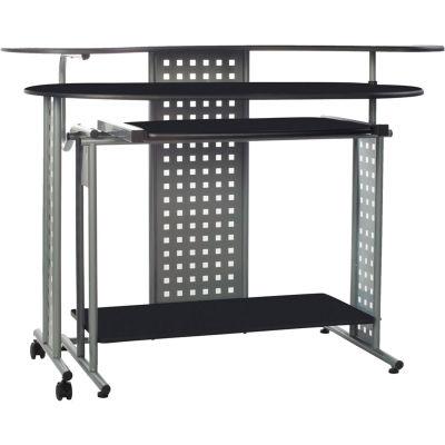 OneSpace 50-100705 Regallo Expandable L-Shaped Computer Desk, Black