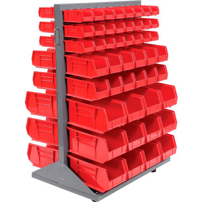 Global Industrial™ Mobile Double Sided Floor Rack - 96 Red Stacking Bins 36 x 54