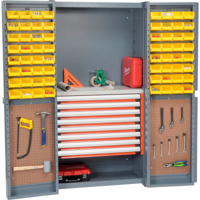 Security Work Center & Storage Cabinet With Peboards, 8 Drawers & 64 Yellow Bins