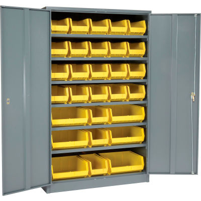 Global Industrial™ Locking Storage Cabinet 48x24x78, 29 YL Stacking Bins, 6 Shelves Unassembled