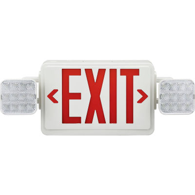 Global Industrial™ Combo LED Emergency Exit Sign, Red Letters, Ceiling & Wall Mount