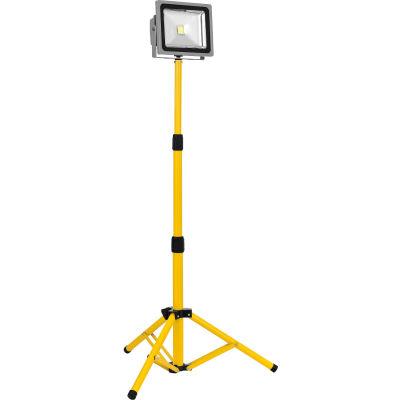 Global Industrial™ LED Single Work Light w/Tripod, 30W, 2160 lumens, IP65