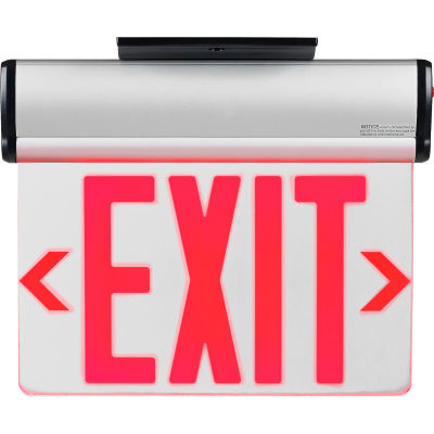 Global Industrial™ Surface Mount LED Edge Lit Exit Sign Red Letters Nickel-Cadmium Battery UL