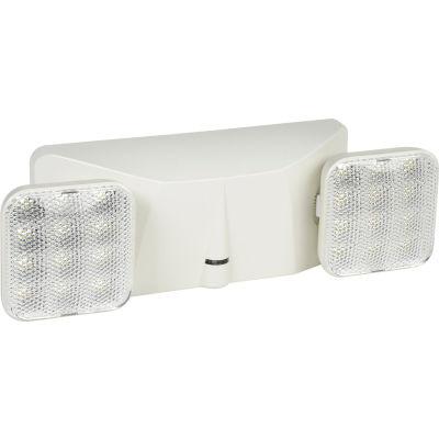 Global Industrial™ 2 Head Square LED Emergency Unit w/ Adjustable Optics, Ni-Cad Battery Backup