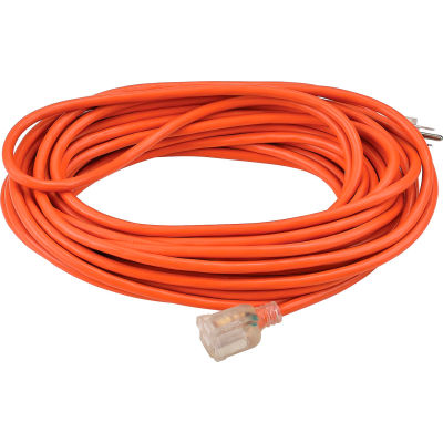 Global Industrial™ 50 Ft. Outdoor Extension Cord w/ Lighted Plug, 16/3 Ga, 13A, Orange