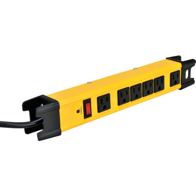 Global Industrial™ 6-Outlet Power Strip, 6' Cord 14/3 Lighted Switch, 15A, 1875W cETL