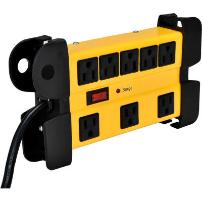 Global Industrial™ 8-Outlet Power Strip, 6' Cord 14/3 Lighted Switch, 1200 Joule surge, 15A