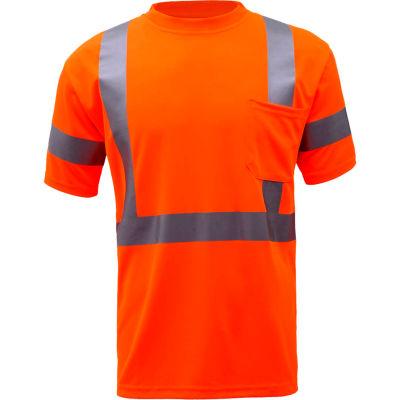 GSS Safety 5008, Class 3, Hi-Viz Moisture Wicking Birdseye Short Sleeve T-Shirt, Orange, 2XL Tall