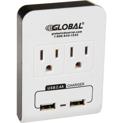 Global Industrial™ 2 Outlet Wall Adapter, 2 USB Charging Ports, 15A, 125V, 1875W, UL/CUL