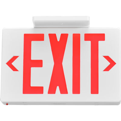 Global Industrial™ LED Exit Sign, Red Letters, Universal Mount, White, 1 or 2 Sides