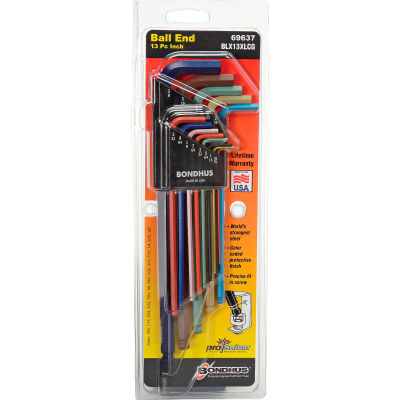 "Bondhus 69637 Set 13 ColorGuard™ Ball End L-Wrenches - Extra Long Arm (.050""-3/8"")"