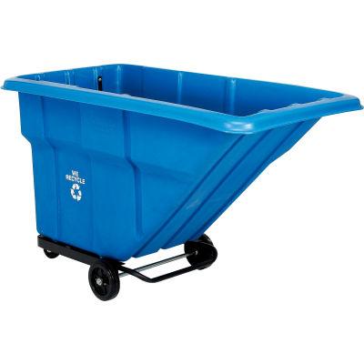 Deluxe Blue Standard Duty Plastic Recycling Tilt Truck 1 Cu. Yd. 1000 Lb. Capacity